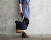 big tote bag fabric daybag dark blue gold sac shoulder bag large handmade plain with zipper