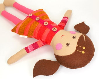Soft Fabric Cloth Doll for Girl -- Eco-Friendly Soft Toy -- Camille Doll with Brown Felt Hair and Striped Batik Dress-- 1st Birthday Doll