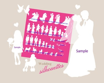 Silhouette wedding bridal party 40 Silhouettes INSTANT DOWNLOAD White clipart  for DIY invitations and programs clip art