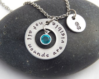 PTSD Awareness Necklace - Not All Wounds Are Visible Ribbon Awareness