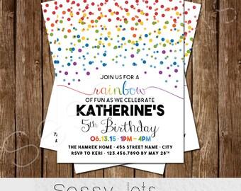 Rainbow Birthday Invitation - Rainbow Party Invite