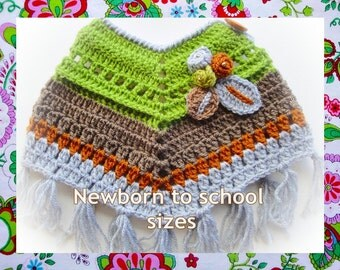Wood  Ponchito - (Nb to 7 years) Crochet Pattern