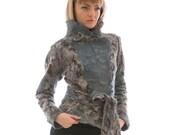 "Customer order for  Beatrix de Vaulx,Jacket ""Venetian night"",clothing, felt,nunofelting, gray, wool"