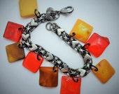 Wonderful Factory End Bakelite Sterling Silve Heart Charm Bracelet