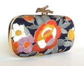 Box Clutch Minaudière, Kimono Silk - Navy Blue, Rust Orange, Gold, Silvery Grey, White Floral Evening Bag, Lined in Ultrasuede, Gold Frame