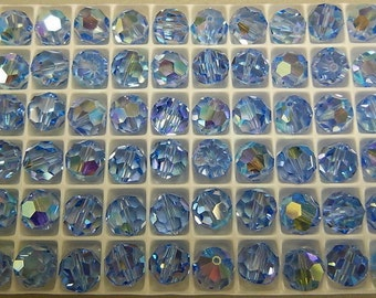 24 Swarovski 10mm Light Sapphire Aurora Borealis (AB) Round Crystals, Vintage Article 5000 New from Box