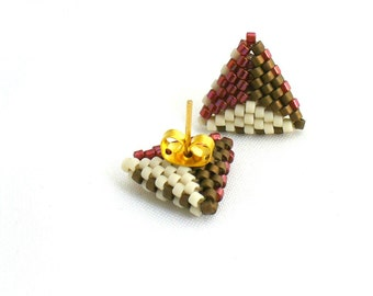 Triangle Post Earings, Tricolor Earrings, Dainty Stud Earings, Geometric Earrings, Earth Tone Earstuds, Beadwork Triangles - Etsy UK Seller