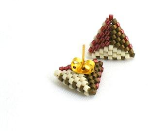 Triangle Post Earings, Tricolor Earrings, Dainty Stud Earings, Geometric Earrings, Earth Tone Earstuds, Beadwork Triangles - Made in Germany