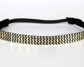 "Gold and Navy Chevron Shine NonSlip Headband 3/4"", Non-Slip Headband, Workout Headband, Gold Foil, Dance, Running, 5k, Exercise"