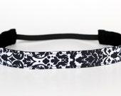 "Black & White Damask Non-Slip Headband 1"", Running Headband, Fitness Apparel, Workout Accessory, Gift for Her, Exercise Headband, Cheer Gift"