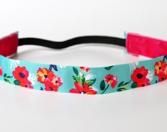 "Modern Chic Floral Nonslip Headband 1"" - preppy headband, runner gift, yoga headband, southern prep, resort wear, gift under 5,"