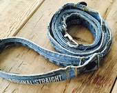Denim Dog Leash, Destroyed Denim Leash,  Recyled jeans