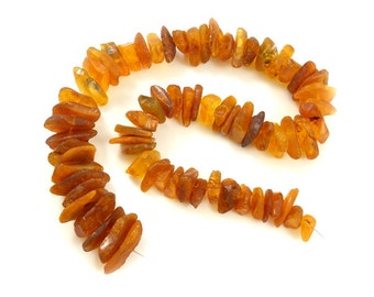 Natural Baltic Amber beads LOT -70pcs freeform raw bead - cognac #2
