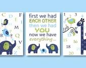 Alphabet Numbers Baby Boy Nursery Quote Children Art Kids Wall Art Kids Art Elephant Wall Art Giraffe Wall Art set of 3 Navy Green Blue