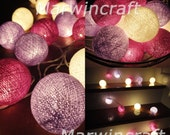 20 Big Cotton Balls Violet Purple Tone Fairy String Lights Party Patio Wedding Floor Table or Hanging Gift Home Decor Christmas Bedroom