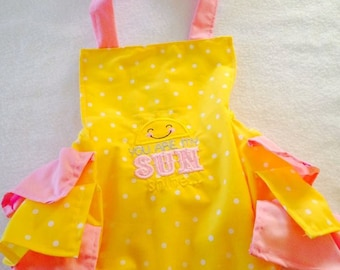 You are my sunshine, Romper, Sun suit, polka dots,  nb, size 3, 6, 9, 12, 24 months, 2T, 3T, 4T