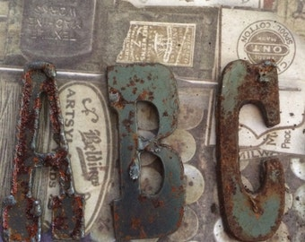 Rusty Alphabets Letters Set Home Decor Rusty Letters Quotes Stencils Letters Rusty Metal ETSY Home Decor LETTERS SET  Rusted Letters