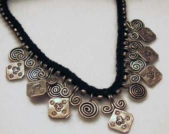 Vintage HILL TRIBE SILVER Fringe Necklace on Crocheted Black Cotton Cording