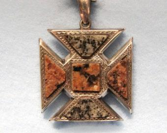 Vintage SCOTTISH Aberdeen GRANITE MALTESE Cross Pendant in Sterling Silver -- c.1918