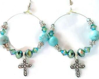 Cross Earrings, Hoop Earrings, Turquoise Earrings, Funky Earrings, Beaded Hoops