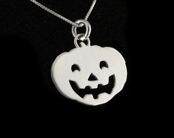 Sterling silver halloween pumpkin necklace Jack-o'-lantern pendant with silver chain