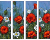 Printable Bookmarks, Original Paintings of Red Poppies, Daisies, Flower Art, Commercial Use, Floral Bookmarks, You Print, Instant Download