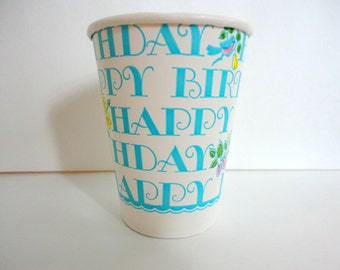 Vintage Paper Cups Set of 8 NOS Happy bithday cups American Greetings 1970s Retro Party supplies