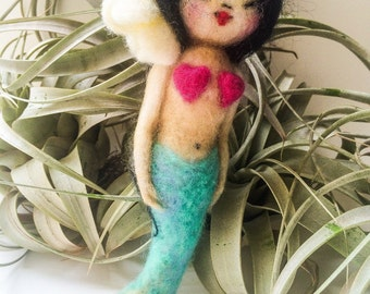 Felted Mermaid Doll / Kawaii Doll / Doll Necklace and Charm by hello kokeshi