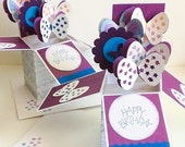Box cards: Pop Up cards - Stampin Up card - Butterfly - Happy Birthday - Purple - handmade - Love Butterflies - hand stamped - Wcards