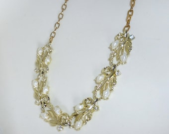 Vintage 1950's White Crystal Rhinestone, Faux Pearl and Gold Leaf Adjustable Collar Necklace
