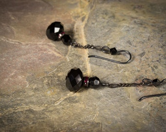 Penny Dreadful Inspired Black Crystal Earrings