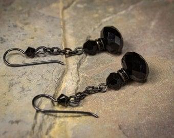 Penny Dreadful Inspired Jet Crystal Earrings