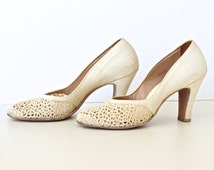 Vintage Mid Century White Crochet Style High Heels Summer Shoes