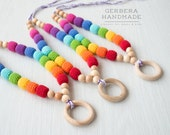 Rainbow Nursing necklace/ Teething necklace/ Breastfeeding/ chew beads/ Nursing necklace with ring/ Baby Nursing necklace/ Chomping Necklace
