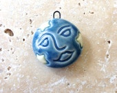 Hand carved ceramic pendant, Moon and stars pendant