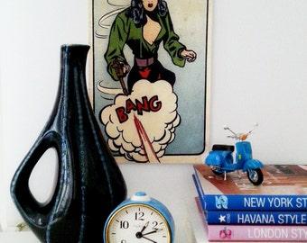 Retro ceramic vase, dark blue, 1960s