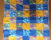 Baby Blanket, Tropical Patchwork Lightweight Baby Quilt