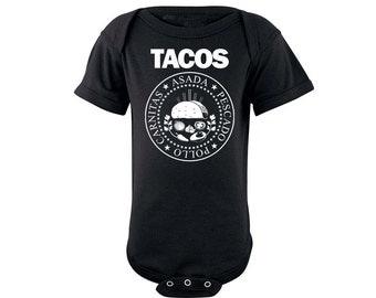 TACOS Ramones onesie, funny baby Taco onesie, Taco Tuesday onesie, Mexican onsie bodysuit, Foodie onesie Chef onesie Punk Rock black onesie