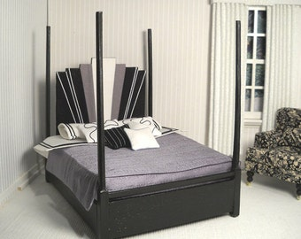 Four poster Art Deco bed in 1:12 scale