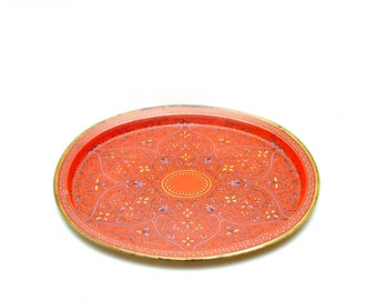 80s Red Floral Tray Patterned Oval Purple Gold