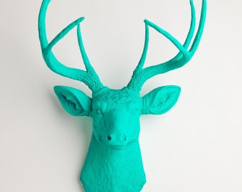 Faux Taxidermy Deer Head - The Penelope - Turquoise Deer Head Wall Mount - Resin Stag Wall Hanging & Decor by White Faux taxidermy Animals