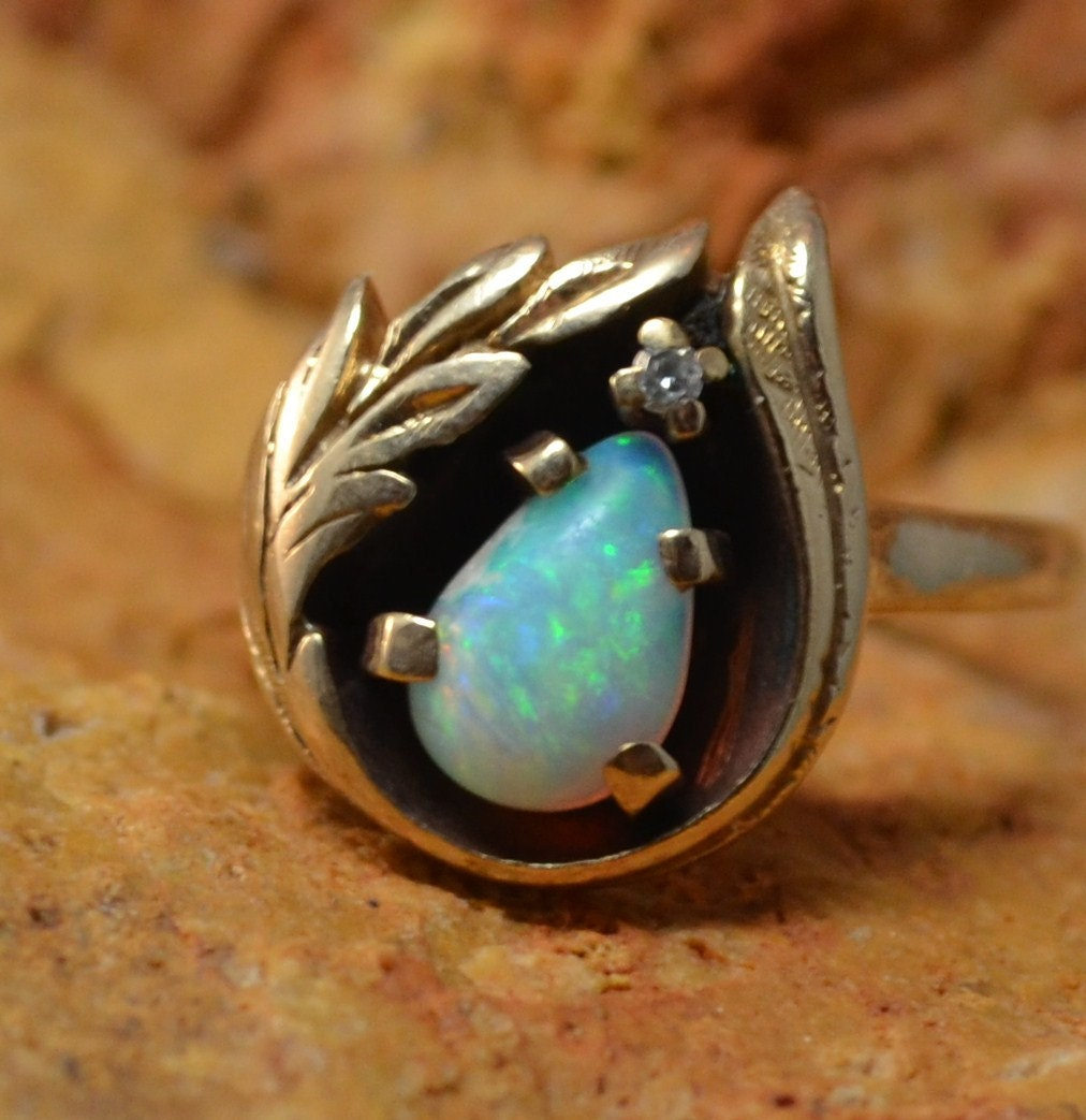 Vintage Opal Ring Antique Engagement Opal and Diamond