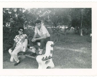 Couple of Cool Guys, c1950s Vintage Photo Snapshot (54359)