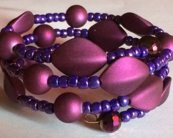 "Colorful ""Plum Perfect"" Beaded Memory Wire Bracelet"
