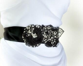 Polka Black and White Sash - Black and White Flowers Wedding Sash - Bridal Floral Sash