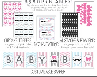 Gender Reveal Party Pack - Invitation, Cupcake Toppers, Mustache Pins, Bow Pins & Banner