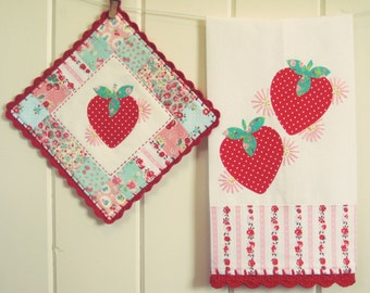 sweet strawberries tea towel and holder set-made to order