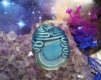 Turquoise mermaid agate slice pendant