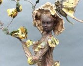 ooak fairy  mushroom pixie art doll sculpture dryad tree spirit woman miniature cicada wings ladybug