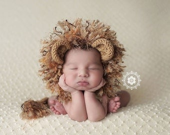 Newborn Lion Bonnet and Diaper Cover Photo Prop, Made to Order